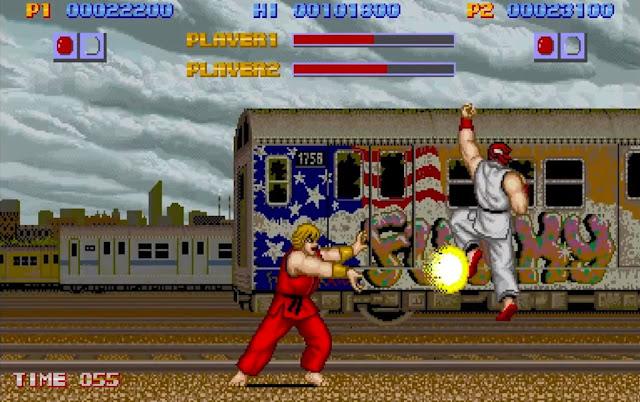 Ryu e Ken em uma gameplay de Street Fighter